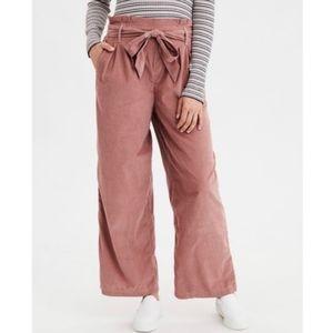 American Eagle Wide Leg Capri Paperbag Rust Pants